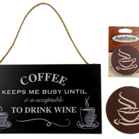 Kitchen Coffee Keeps Me Busy Drink Wine Sign Home Auto Stone Coaster Gift Set 3