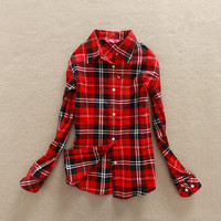 2017 New Hot Sale Long Sleeve Cotton Plaid Shirt Turn Down Collar Shirt Blusas Feminino Ladies Blouses Womens Tops Fashion