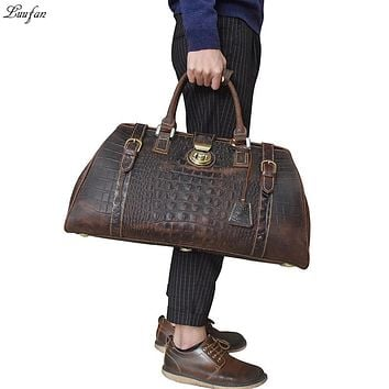 Vintage Crazy Horse Genuine Leather Mens Travel Bag Big Capacity Crocodile Travel Duffle Bags carry on luggage bag overnight