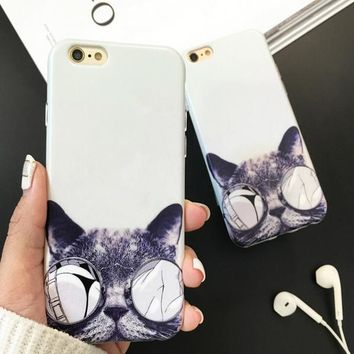 A cat with glasses Cover Case for iPhone 5s 5se 6 6s Plus + Gift Box 345-170928