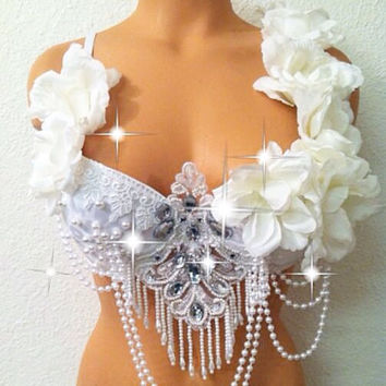 White Royal Roses Rave Bra