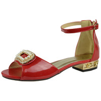 Kids Dress Sandals Gold Tone Pearl Accent Pageant Low Heels Red SZ