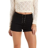 Black Lace-Up High-Waisted Shorts by Charlotte Russe