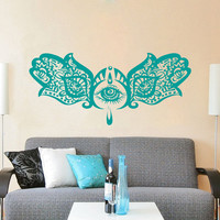 Hamsa Wall Decal Vinyl Sticker Decals Home Decor Hamsa Hand Fish Eye Indian Buddha Yoga Fatima Ganesh Lotus Patterns Art Bedroom Dorm ZX169