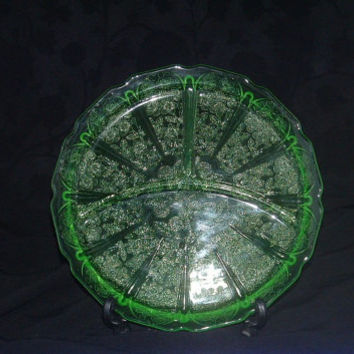 Authentic Vintage 1930's Vaseline Jeannette Glass Cherry Blossom Depression Glassware Grill Plates/Divided Dinner Plates (4)