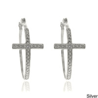 Finesque Sterling Silver Diamond Accent Cross Hoop Earrings | Overstock.com