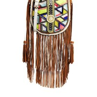 River Island Beaded Leather Saddle Bag with Fringe