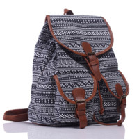 Black Chevron Ethnic Aztec Geometry Canvas College Backpack Casual Daypack