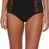 LA Hearts Crochet High Waisted Bottom - Womens Swimwear - Black -