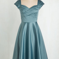 Pinup Long Cap Sleeves A-line Pine All Mine Dress in Dusty Blue