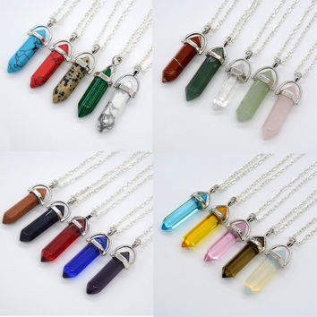 21 Color Women White Clear Natural Rock Stone Bullet Pendant DIY Necklace Crystal Quartz Hexagonal Column Silver Chain Jewelry