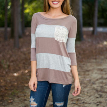 All Striped Up Top, Gray