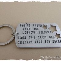 Hand Stamped Key Chain - Btraver Stronger Smarter - Inspired by Winnie the Pooh - Gift for him - Gift for her - Unisex - Gift Idea - Stamped
