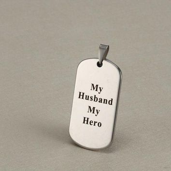 ac spbest 10PCS DIY Military Tag Charms Stainless Steel 'MY DAD IS MY HERO' Pendant Inspirational Jewelry Making For Necklace 29*51MM