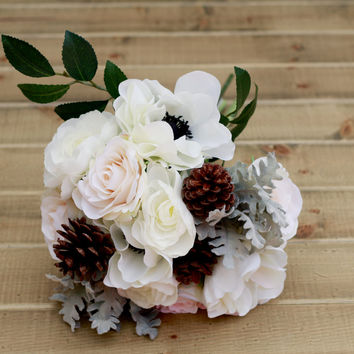 Silk Winter Pine Cone White Anemone Ranunculus and Rose Wedding Bouquet