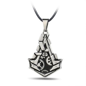 Statement Jewelry Assassins Creed Necklace UBI Work Shop Pendant Rope Chain Necklace Assassins Creed Cosplay Game Accessories