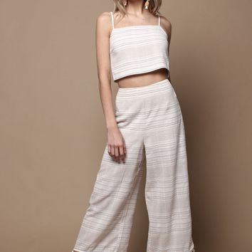 MINKPINK Natural Instinct Cropped Tassel Pant - Natural