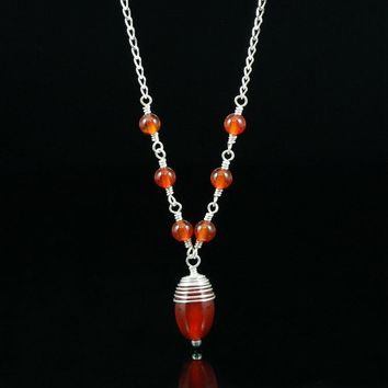 Stone Carnelian pendant lariat necklace Bridesmaid gifts Free US Shipping handmade Anni designs