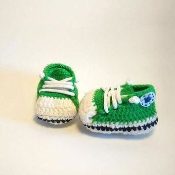 crochet babyshoes converse green baby shoes handmade ready to ship