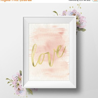 "Printable Wall Art,""LOVE"", Instant Download, Gold Script, Wedding Table Sign, Dorm Decor, Pink Watercolor,"
