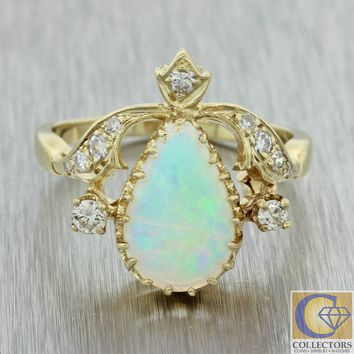 Vintage Estate 14k Yellow Gold Pear Shape Fire Opal 2.00ct Diamond Cocktail Ring