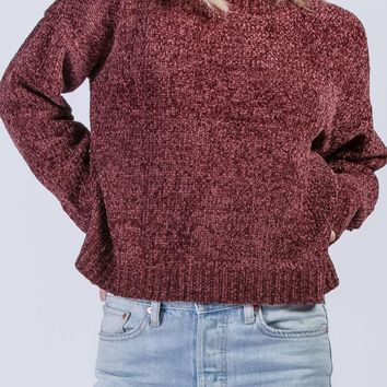 Brie Chenille Sweater in Marsala