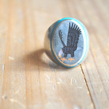 rare zuni eagle inlay mens ring // vintage zuni inlay // native american //