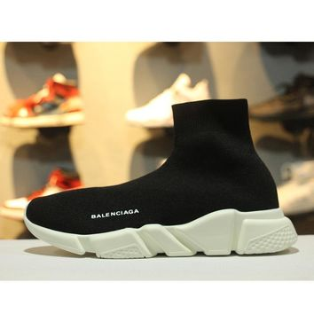 Balenciaga Speed Stretch Knit Low Slip-On White Black Socks Shoes - Best Online Sale