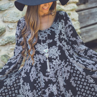 Winter Paisley Dress in Black and White