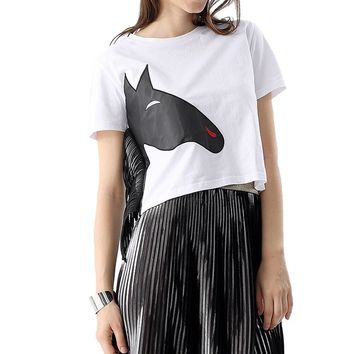 Stylish Round Collar Short Sleeve Animal Print Side Tassel Color Block Crop Top for Women