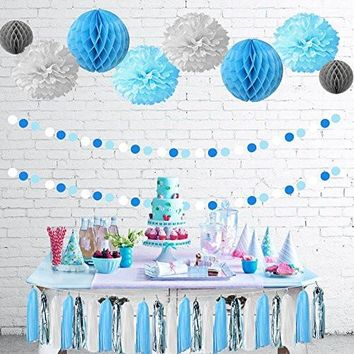 TheCraftyShop™ Baby Blue White Grey Baby Shower/Party Paper Decorations First Birthday Boy Decorations Tissue Paper Pom Pom Honeycomb Tassel Garland Circle Paper Garland Baby Shower Decorations