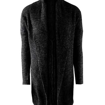 Black Shawl Collar Jacquard Knitted Cardigan