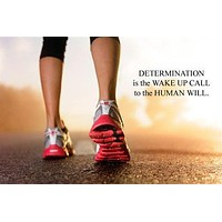 MOTIVATIONAL POSTER woman runner DETERMINATION QUOTE sports fitness 24X36