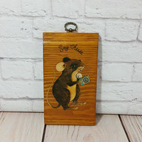 Vintage Fun Wood Office Desk Sign Mouse Camera Say Cheese