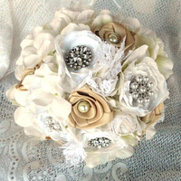 Brooch Wedding Bouquet, Bridal, Jewelry, Fabric Bouquet, Vintage,  Brooch Wedding, Bridesmaid, Fabric Flower, broche Bouquet, Lace, Pearl