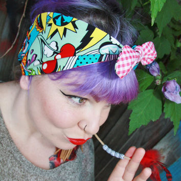 Vintage 1950s rockabilly pin up style cartoon print headband bow accessories hairband wire flexible head bands accessories