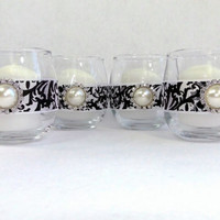 Set of 4 Damask Votive Candle Holders Black and White With A Rhinestone and Pearl Embellishment Glass Wedding Candle Holder
