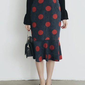 Navy Polka Dot Corduroy Midi Fishtail Skirt