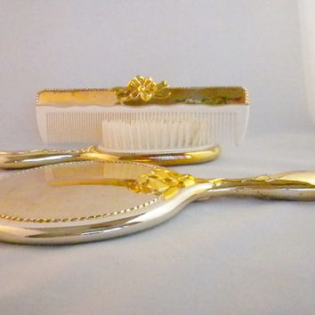 Gold Vanity Set, Gold Hair Brush, Gold Comb, Gold Mirror