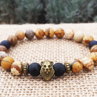 Men's Bracelet, Men Bracelet, Man Gemstones Bracelet, Beaded Stretch Bracelet,Antic Bronze Lion Bracelet Gift For Him For Men Holiday Gifts
