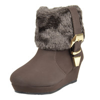 Kids Ankle Boots Fur Cuff Buckle Accent Casual Wedge Shoes Brown SZ