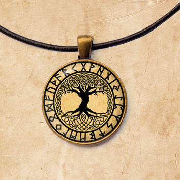 Yggdrasil pendant Occult jewelry Rune necklace