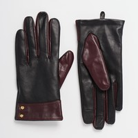 ASOS Leather Gloves With Cuff Detail And Touch Screen at asos.com