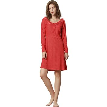 Women nightgown long sleeve casual sleepwear night dress nightshirt night bathrobes lounge wear sleepdress