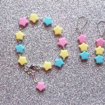 Shooting Star Bracelet and Earrings Set
