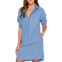 Women's Casual Long Sleeve Denim Jean Shirt Dress Short Mini Dresses Blouse Tops