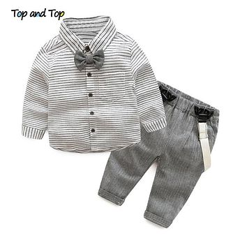 Spring autumn baby boys clothing set Gentleman long-sleeve stripe Bow tie shirt suspenders newborn infant clothes suit