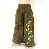 Smocked Waist, Wide Legs Cotton Pants in Navy Green, with Embroidered Flowers