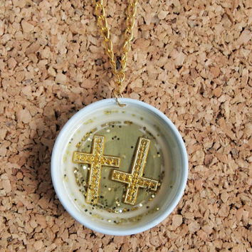 Starbucks Charm Necklace - coffee shop recycled cap top hipster glitter gold crosses jewelry FREE shipping to USA