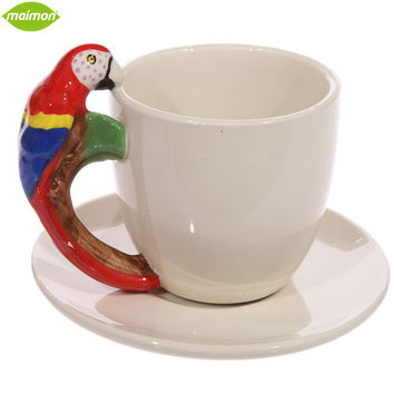 200ml Ceramic Animal Cup White Mug with Parrot Bird Panda Elephant Shaped Handle Home Decor Copo Gift Box Coffee Tea Caneca